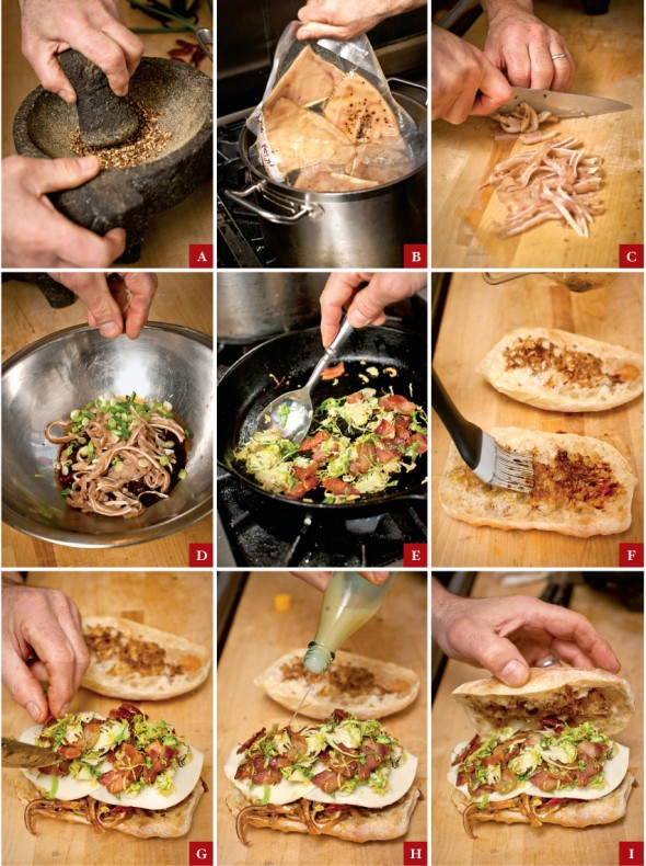 step by step instructions for making Lardo's pig's ear sandwich photographed by John Valls