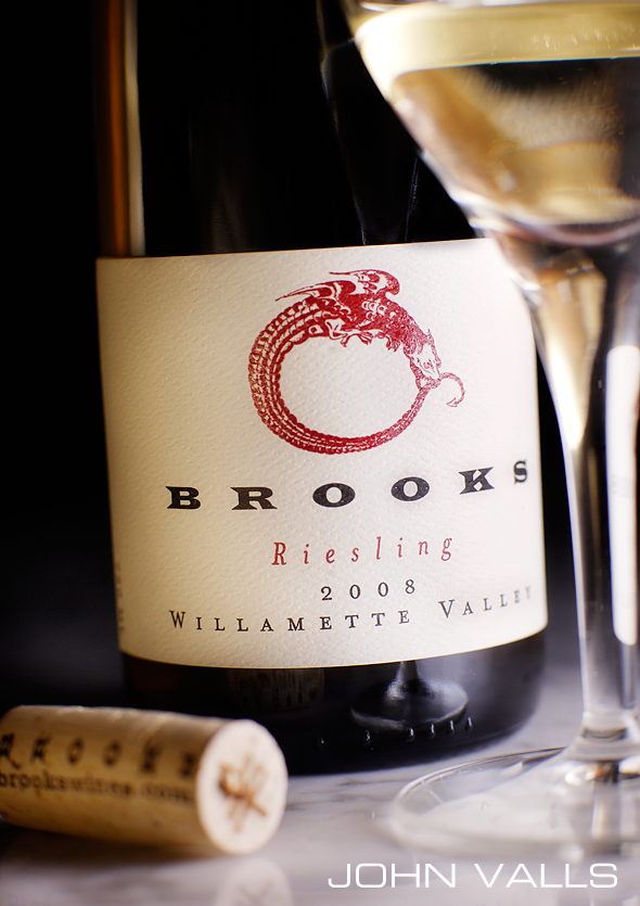styled bottle shot by photographer John Valls for Brooks winery