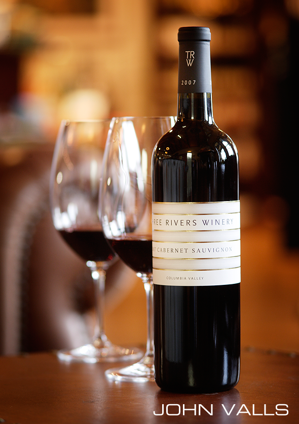 styled bottle shot for Three Rivers Winery in Walla Wall Washington