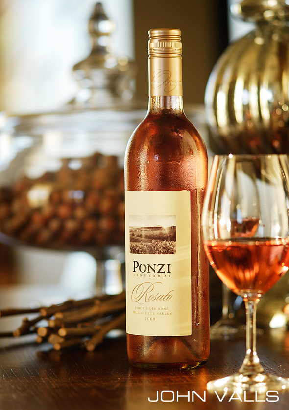 Styled bottle shot for Ponzi Winery by photograper John Valls