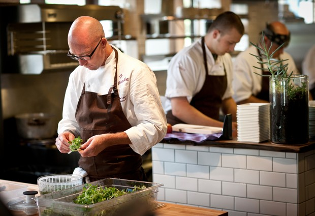 Paulee Restaurant Chef Daniel Mondok at work in the open kitchen