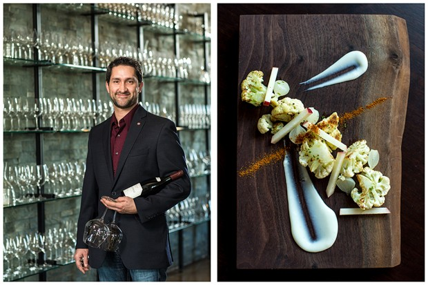 Portrait of Paulee Restaurant sommelier, Scott Minge alongside chef Shawn Temple's inspired cauliflower dish.