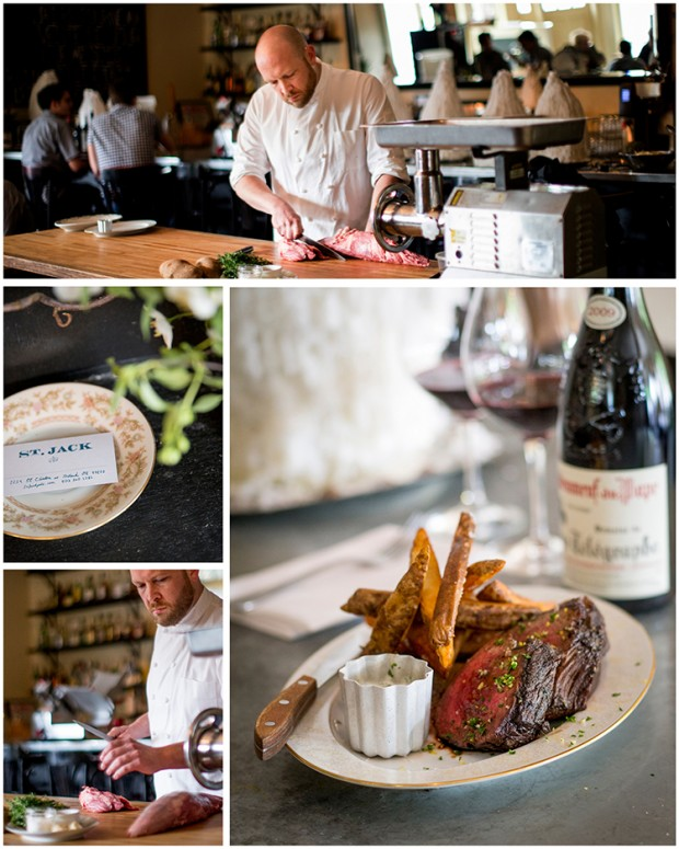 steak frites and chef aaron barnett at restaurant st jack