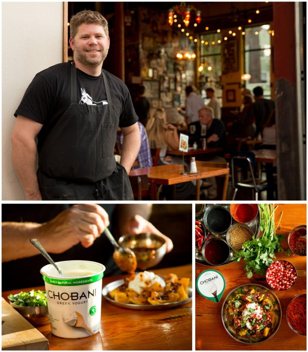 Bollywood Theater restaurant Troy MacLarty preparing recipes using Chobani yogurt