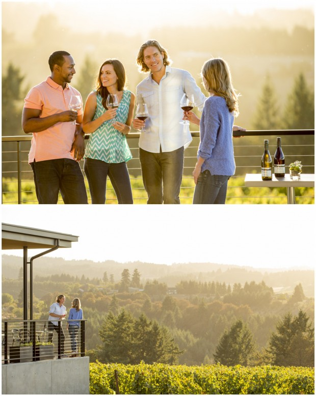 people enjoying the view at Ponzi Vineyards tasting room