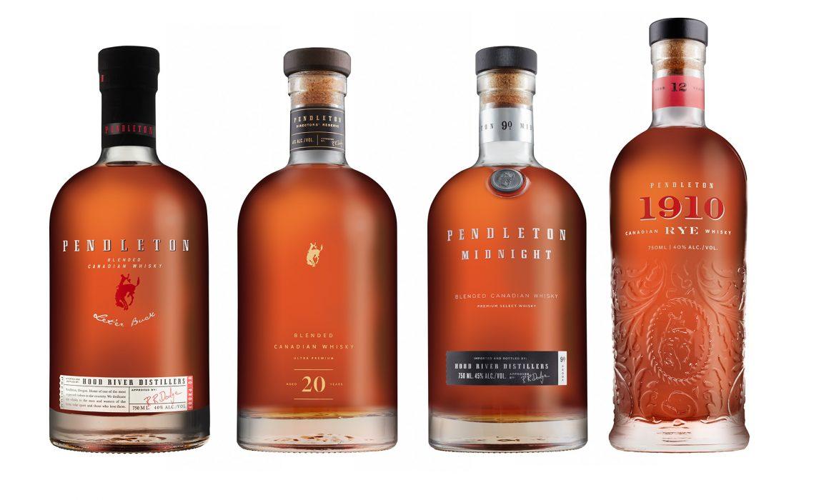photo lineup of Pendleton Whiskey bottles