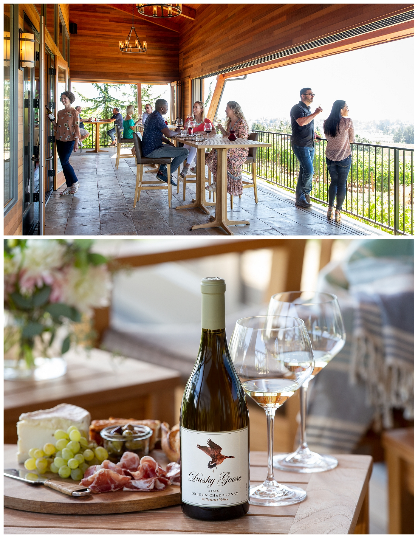 Dusky Goose tasting room and wine bottle styled shot